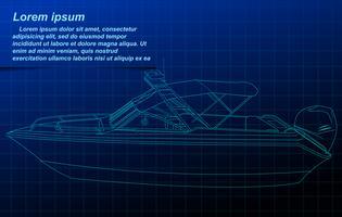 Skissning av motorbåt wireframe.