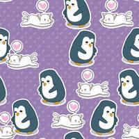Sömlös pingvin och kattmönster.