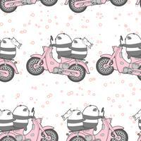 Sömlös kawaii panda rider motorcykelmönster. vektor