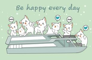 Kawaii Katzen in der Fähre