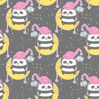 Sömlös kawaii panda på månen säger gott nattmönster