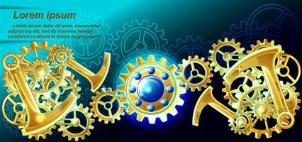 Steampunk-Hintergrund im Cartoon-Stil. vektor