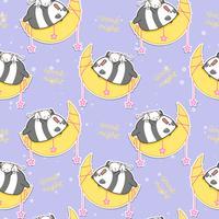 Nahtloser Panda und Katze schlafen auf dem Mondmuster.