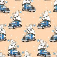 Sömlös söt panda och katt på lastbilen i semestertidsmönster