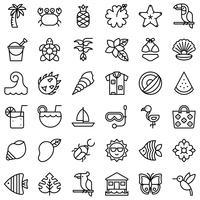 Tropisk relaterad vektor ikonuppsättning, linjestil