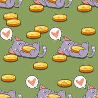 Nahtloses Katzen- und Münzenmuster.