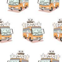 Sömlösa söta katter och panda och bussmönster.