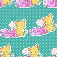 Sömlös 2 baby katt mönster. vektor