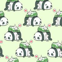 Sömlösa kawaii katter med bil på jätte panda mönster.