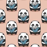 Sömlös panda läser bokmönster. vektor