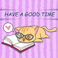 Gullig katt läser en bok i tecknadstil.