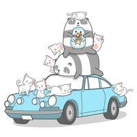 Kawaii Tierfiguren und Auto. vektor