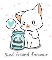 Kawaii panda i flaskan och jätte katt vektor