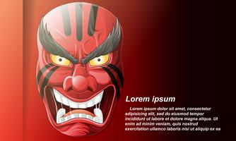 Japansk demonmask på bakgrunden i tecknadstil.