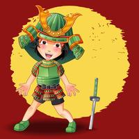 Samurai-Figur im Cartoon-Stil.
