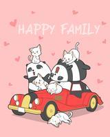 Djurfamilj och röd bil i tecknadstil.