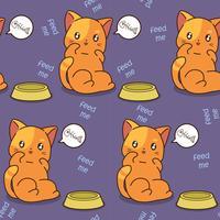 Sömlös katt är hungrig mönster. vektor