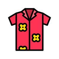 Sommarskjorta vektor, tropisk relaterad fylld stilikon
