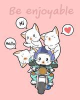 Kawaii rider katt och vänner vektor