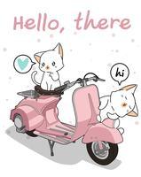 Kawaii 2 weiße Katze mit Motorrad vektor