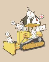 Söt katter och panda på traktor vektor
