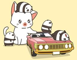 Kawaii Riesenkatze und kleine Pandas mit rosa Auto. vektor