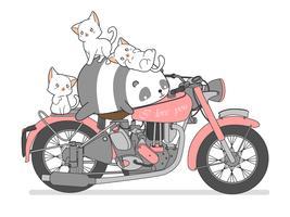 Kawaii panda och katter med motorcykel. vektor