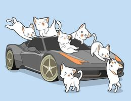 Kawaii Katzen und Selbstauto.