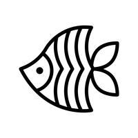 Havsfisk vektor, tropisk relaterad linje stilikon vektor