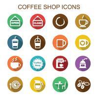 kaffebar långa skuggikoner