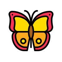 Schmetterlingsvektor, tropische in Verbindung stehende gefüllte Artikone vektor