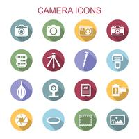 kamera långa skugg ikoner vektor