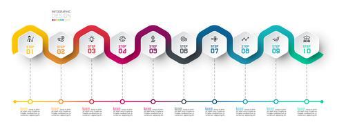 Hexagon-etikett med färglinje kopplade infographics.