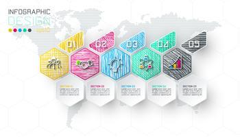 Business hexagon etiketter formar infografiska grupper bar.