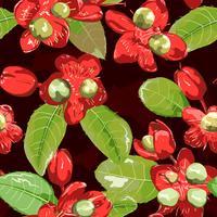 Röd blomma på sömlös bakgrund.