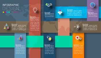 Dunkle Etiketten mit Business Icon Infografiken.