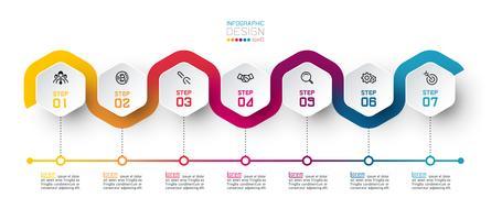 Hexagon-etikett med färglinje kopplade infographics. vektor