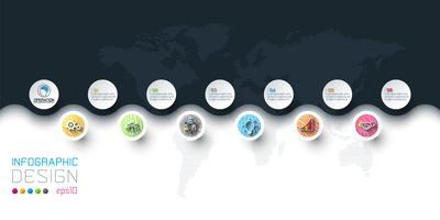Business cirkel etiketter form infographic i horisontella.