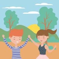 Tonåring pojke och flicka tecknade design vektor