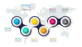 Cirkel länkad med företagsymbol infographics på världskartan bakgrund.