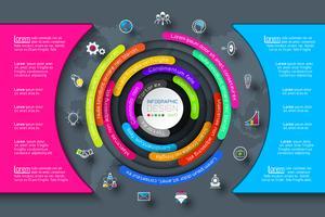 Business Infographics cirkel origami med skuggstil Vektor illustration.