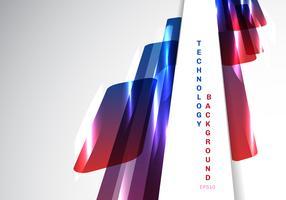 Abstrakt perspektiv Blå och röda glänsande geometriska former överlappar rörlig teknik futuristisk stil presentation på vit bakgrund med kopia utrymme.