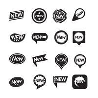 Set med etiketter Ny ikon för webbplats och kommunikation