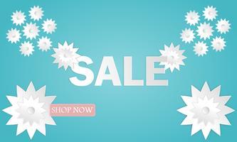 Sommarförsäljning banner med papperslipade löv bakgrund exotisk blommig design affisch webbplats eller hälsningskort stil vektor illustration