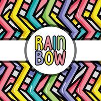 Kreis Emblem über schöne Wellen Regenbogen Hintergrund vektor