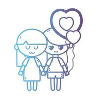 linje barn tillsammans med hjärtbollonger