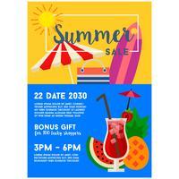 Sommerschlussverkauf Plakat Vorlage Cocktailgetränk flachen Stil vektor