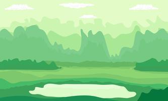 Grüne Natur der Gebirgshügel im Sommerdesign auf Vektorillustrationshintergrund