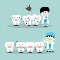 Gesunde weiße Zähne der Zahnarztkarikatur und Zahnsatz der Zahngesundheit. Design Vektor-Illustration Zahnschmerzen vektor