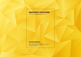 Abstraktes niedriges Polygon- oder Dreieckmuster auf gelbem Senfhintergrund und -beschaffenheit.